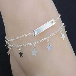 $enCountryForm.capitalKeyWord NZ - Multi Layer Summer Star Pendant Anklet Foot Chain Summer Yoga Leg Bracelet Sequin Charm Beach Jewelry Women Fashion Pentagram Boho Gift