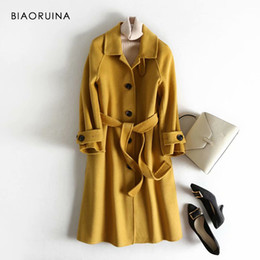 $enCountryForm.capitalKeyWord Australia - BIAORUINA Women's 5 Colors 100%wool Single Breasted Fashion Long Coat Office Lady Chic Korean Style Woolen Overcoat with Sashes