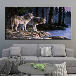 Oil art night landscape paintings online shopping - Canvas Painting Wall Art Framework Pieces Night Lakeside Animal Wolf Picture HD Prints Poster For Bedroom Home Decor No Frame