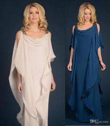 $enCountryForm.capitalKeyWord Australia - New champagne navy blue Mother Of The Bride Dresses Chiffon Wedding Plus Size Ruffles Flowing Sheath Floor Length