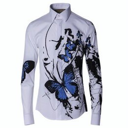 a4d6c9ad Butterfly Shirts Designs Australia - Lozoga Men Shirt Fashion Design  Butterfly Ink Painting Chinese Style Long