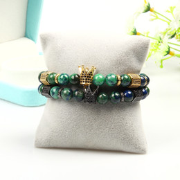 luxury watches charming bracelets Australia - men bracelet luxury designer jewelry 1pcs Cz Crown & Stoppers With 8mm Natural Stone Beaded Gold Crown Bracelets Watch For Women
