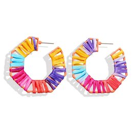 $enCountryForm.capitalKeyWord UK - Polygon Weaving Earrings Boho Fashion Lafite Weave Stud Earrings Summer New Joker Women Holiday Ear Ornament Graceful Colorful Jewelry