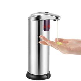 Dispenser Kitchen Australia - 250ML Infrared Sensor Soaps Dispenser Stainless Steel Automatic Induction Liquid Soap Dispensers For Kitchen Bathroom Free Shipping