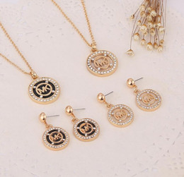 $enCountryForm.capitalKeyWord Australia - MK123456 Europe And The women Fashion Necklace Pendant Earrings Full Drill M Letter Octagonal Round Two-piece Diamond Bridesmaids Jewelry