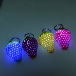Cheap Flash Gifts Australia - Luminous Novelty Strawberry LED Flashing Light Up Keychain Key Ring Cheap promotion Gifts Party Favor