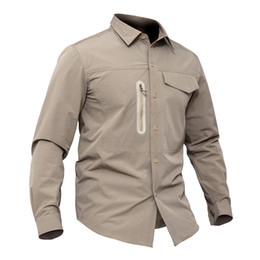 khaki outdoor shirts men Australia - Spring Autumn Men Sports Breathable Thin Quick Dry Military Long Sleeve Shirt Outdoor Hiking Fishing Training Pocket Lapel Tactical Shirts