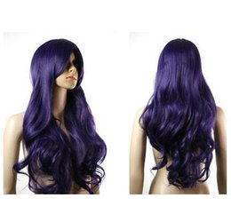 PurPle black cosPlay wigs online shopping - Anime Party Peluca New Fashion long purple black wavy cosplay wig for women wig