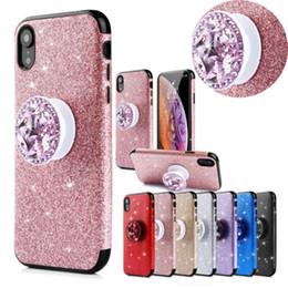 $enCountryForm.capitalKeyWord NZ - Luxury Glitter Sparkle Sticker Thin Shockproof Hybrid diamond Holder Soft TPU Matte Phone Case Cover For Apple iPhone 6 7 8 Plus X XS Max XR