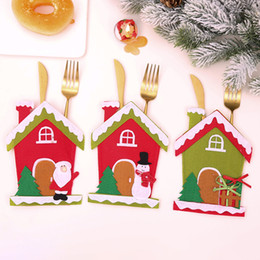$enCountryForm.capitalKeyWord Australia - 2019 Christmas Decorations For Home Table Dinner Decor Cute House Cutlery Suit Knifes Folks Bag Holder Pockets Xmas New Year