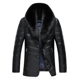 fox fur feather Australia - Winter New Large Real Fox Fur Collar Leather Down Jacket Men Simulation Leather Mid-Length Thick PU Leather Warm Parkas MZ1883 T200110