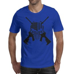$enCountryForm.capitalKeyWord Australia - Men design printing Punisher American Flag Guns blue t shirt printing undershirt vintage make a band shirts printed t shirt cute neon un