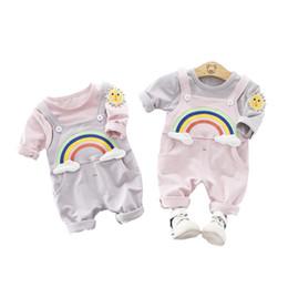$enCountryForm.capitalKeyWord NZ - Cute Sun Rainbow Baby Girl Clothes Girls Long Sleeve T-shirt + Pants 2pcs sets Toddler Cotton Clothing Kids Fashion Casual Suits