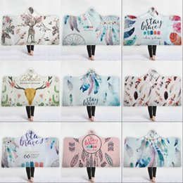 Dreams plush online shopping - Dream Catcher Hat Cloak Blanket Dreamcatcher Printing Winter Plush Adult Beach Towel Thickened Double Children Hooded Cloaks jm2 hh