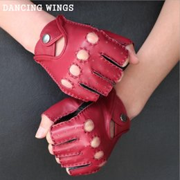 Men Gloves Leather Sheepskin Australia - Men And Women's Genuine Leather Gloves Spring Autumn Sheepskin Fitness Anti-skid Driving Gloves Half Finger Mittens Red