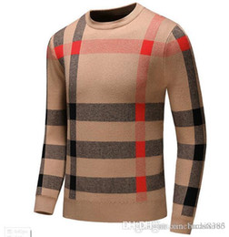 Wholesale plaid sweaters for sale – oversize 2019 New Autumn Fashion Brand Casual Sweater O Neck cool Wolf Striped Slim Fit Knitting Mens Sweaters And Pullovers Men Pullover Men D24