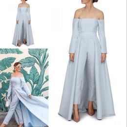 $enCountryForm.capitalKeyWord Australia - Modern Blue Evening Dress Simple Off The Shoulder Long Sleeve Zipper Backless Satin Women Jumpsuits With Detachable Train