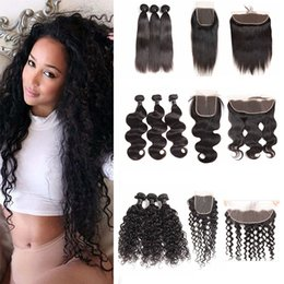 $enCountryForm.capitalKeyWord Australia - Brazilian Hair Lace Frontal with Bundles Body Wave Straight Human Hair Weave Water Wave Hair Loose Deep 3 Bundles with Closure