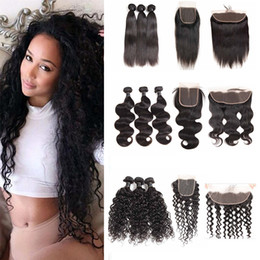 body deep wave closure Canada - Brazilian Virgin Hair Lace Frontal with Bundles Body Wave Straight Human Hair Weave Water Wave Hair Loose Deep 3 Bundles with Closure