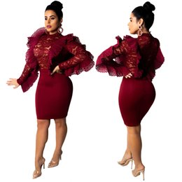 6c3c779c818 Burgundy Lace Ruffles Fashion Women Party Club Dresses 2019 New High Neck Long  Sleeves See Through Bodycon Dress for night Out New Arrival