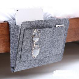 Remote Bag Australia - Felt Bedside Sofa Hanging Holder Storage Bag Multifunctional Organizer Box Magazine Smart Phone Remote Controll Storage Bags Pockets GGA2139