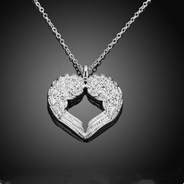 $enCountryForm.capitalKeyWord Australia - Fashion Women Silver Angel Wing Heart Pendant Necklace Jewelry Gift Chokers 45cm Long Link Chain Necklaces for Woman