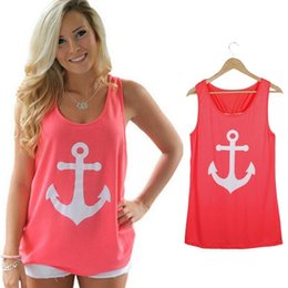 $enCountryForm.capitalKeyWord Australia - Wholesale-Fashion Women Anchor Casual Fancy Sleeveless Tee Bowknot Summer Simple Vest Tank Sexy T-Shirt Party