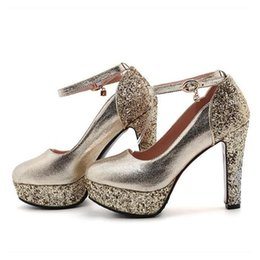 $enCountryForm.capitalKeyWord Australia - Plus size 34 to 43 Glitter sequined ankle strappy round toe platform pumps gold silver wedding ashoes
