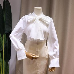 $enCountryForm.capitalKeyWord Australia - Nice Autumn Spring Women White Shirt Fairy Puff Sleeve Sweet Boutique Shirts Peter Pan Collar Cute Big Bow Tie Work Tops Blouse