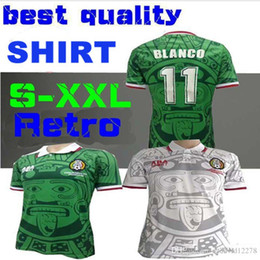 be3d7f53f3c top quality Mexico Soccer Jersey 1998 Mexico Retro VINTAGE shirt 11 BLANCO  CAMPOS 15 HERNANDEZ Home Green Away White National Football Shirt