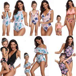 39 styles fashion hot selling Mother Daughter Swimwear Bikini outfits swimwear beach women girl ruffles flower Plaid print bikini sets on Sale