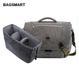Vintage dslr camera bag online shopping - BAGSMART Water Resistant Vintage Camera Shoulder Bag Canvas Messenger Bag Canon Nikon DSLR Camera Bags To Travel Casual Satchel