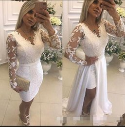 $enCountryForm.capitalKeyWord NZ - Lace Short Evening Dresses With Detachable Skirt Pearls Illusion Long Sleeve Sheath Formal Party Prom Gowns 2019 Hot Selling New