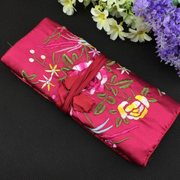 cosmetic drawstring bags Canada - Up Makeup Birds Jewelry Roll Large Embroidery Flower Drawstring Portable Bag Cosmetic Travel Zipper Storage Pouch Socwn