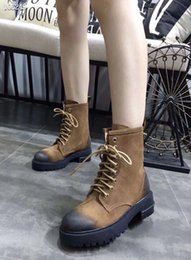 Wholesale 2019 New design women s fashion Martin leather boots girls casual outdoor winter soft black flat short boots lady brown size TC10