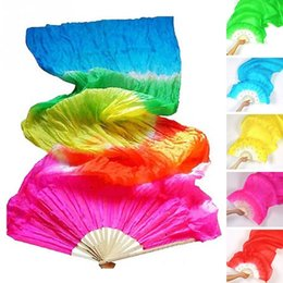 Discount zebra tools - 1pc New Colorful Hand Made Women Belly Dancing Fans Tools Good Quality Simulation Silk Bamboo Long Veils Fans for Women~