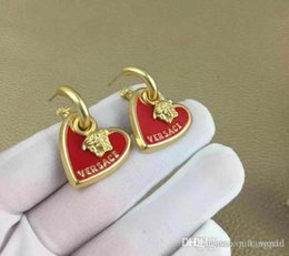 red indian oil NZ - 2020 New Red Heart Letter Earrings Franc Drop Oil-plated Real Gold Earrings S925 Silver Pin Earrings
