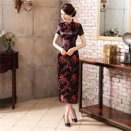 $enCountryForm.capitalKeyWord Australia - Black Red Chinese Traditional Dress Women's Silk Satin Cheongsam Vintage Qipao Summer Short Sleeve Long Dress Flower Plus Size