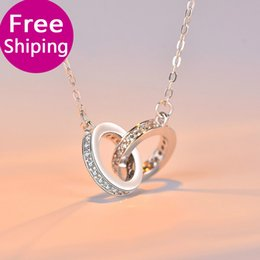 Circle Star Ring Australia - Simple Fashion Korean Edition Double Ring Buckled Silver Necklace Star with The Same Center Pendant Jewelry