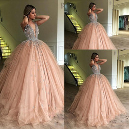 crystal champagne Australia - New Cheap Bling Ball Gown Quinceanera Dress Deep V Neck Crystal Beading Champagne Puffy Tulle Sweet 16 Tulle Party Prom Evening Gowns Wear