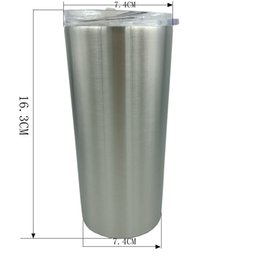 oz tumblers NZ - New 16 OZ Stainless Steel Skinny Tumbler With lids and Straws 600ML Vacuum Insulated Straight Cup Beer Coffee Mug 25PCS