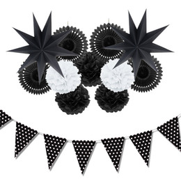 Wholesale 12pc Black White Paper Decoration Set Party Decor Paper Fans Stars For Birthday Party Wedding Baby Showers Garden Space Decor