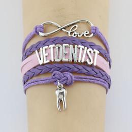 $enCountryForm.capitalKeyWord Australia - 10PC lot Infinity Love Vetdentist Destiny tooth Double Heart Charm Bracelets & Bangles Leather Braid Wrap Bracelet Men Women Fashion Jewelry