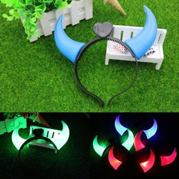 flashing devil horn headband UK - Christmas and Halloween Ox Horn Party Headwear Flashing LED Hair Clasp Headband Xmas Decorations Luminous Devil Horns Head Hoop Light