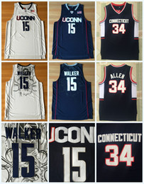20cff6c0264 Mens Kemba Jersey NCAA Uconn Huskies College 15 WALKER 34 RAY ALLEN White  Blue 100% Stitched College Basketball Jerseys S-3XL Fast Shipping