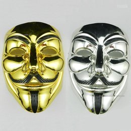 v halloween costume Canada - Electroplating Unisex Mask Cosplay Costume Movie Stars Party Stage Mask PVC Halloween V Word