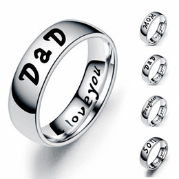 Ring Sons Australia - New Simple 6mm Stainless Steel LOVE MOM DaD SON DAUGHTER Letter Ring Woman Man Family Band Rings Jewelry Gifts