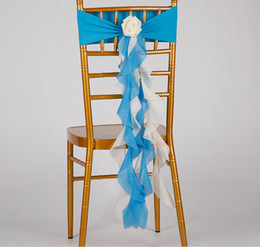 Chinese  Romantic Chiffon Chair Sash Ruffled for Wedding Event decorating Elastic bamboo chair cover sashes manufacturers