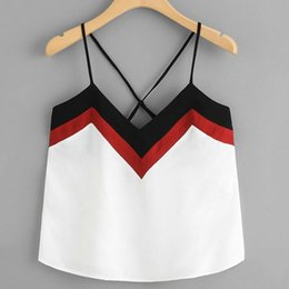 Sheer Camisole Tops NZ - 2019 Fashion Crop Tops Women Summer Casual Patchwork Sleeveless Tank Top Bandage Sexy Strap Vest Camisole