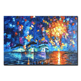art deco landscape paintings Canada - Hand Painted Oil Paintings on Canvas Unframed Abstract Wall Deco Art Palette Knife Painting Ships at Sea Landscape Painting Art 24x36inch